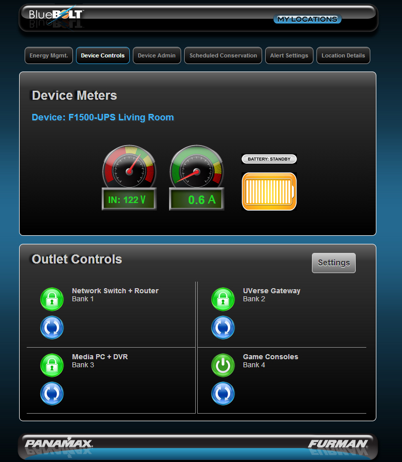 Bluebolt screenshot device meters